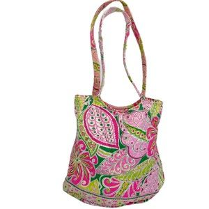 Vera Bradley Pink Green Paisley Floral Quilted Bag